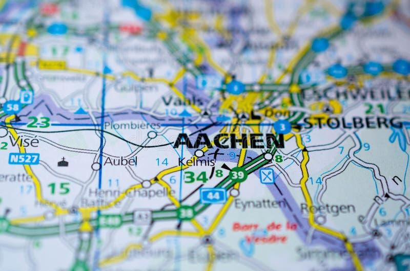 Aquisgrán en mapa imagenes de archivo