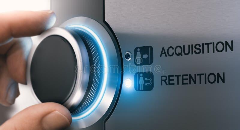 Aquisição do cliente e conceito da retenção fotos de stock