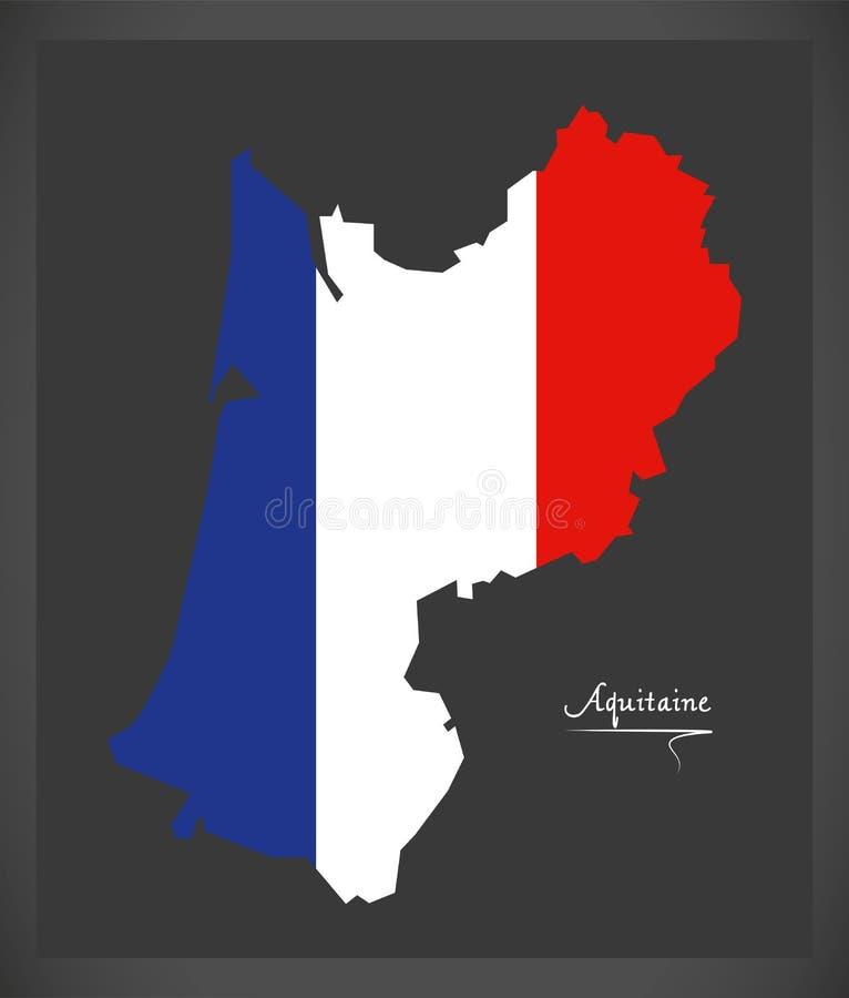 Aquitaine χάρτης με τη γαλλική απεικόνιση εθνικών σημαιών απεικόνιση αποθεμάτων