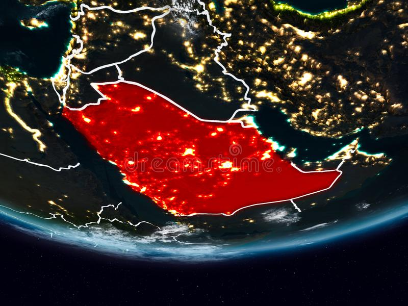 Arábia Saudita durante a noite fotografia de stock
