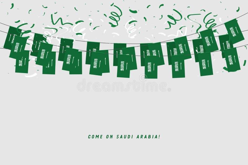 Arábia Saudita embandeira a festão com confetes no fundo branco, estamenha do cair para a bandeira do molde da celebração de Aráb ilustração stock