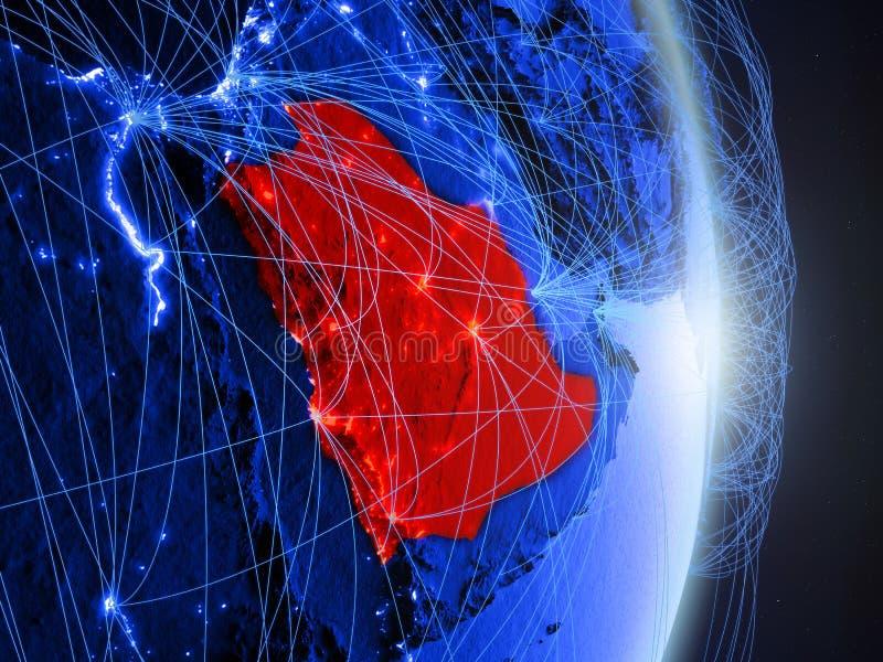Arábia Saudita na terra digital azul azul foto de stock royalty free