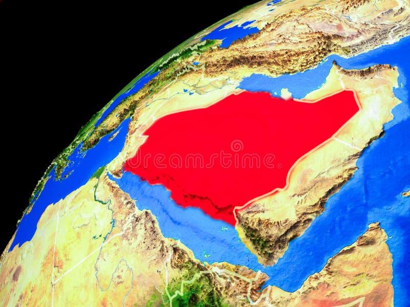 Arábia Saudita na terra do espaço fotos de stock