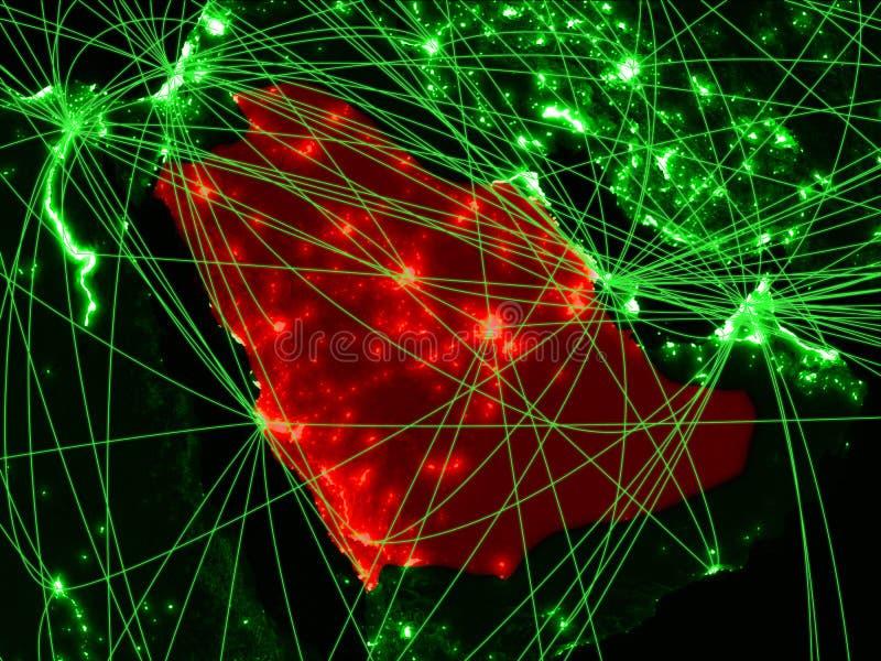 Arábia Saudita no mapa verde fotografia de stock royalty free