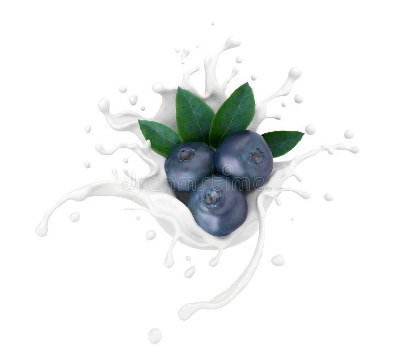Arándano que cae con el chapoteo de la leche o del yogur, representación 3d ilustración del vector