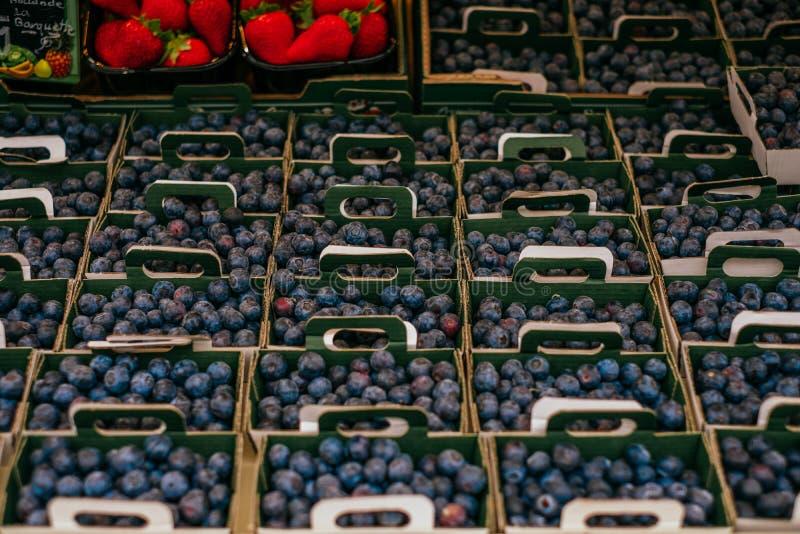 Arándanos en el mercado de los granjeros fotografía de archivo