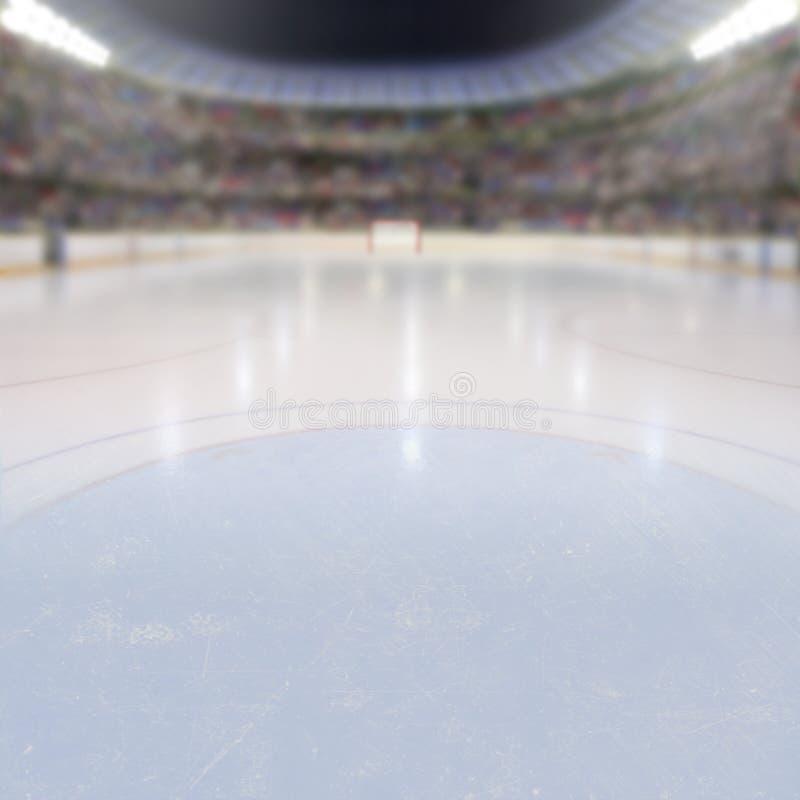 Arène d'hockey avec des fans dans les supports et l'espace de copie image libre de droits