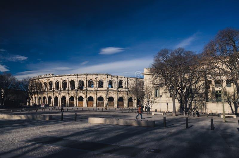 Arène de tauromachie à Nîmes, France image libre de droits