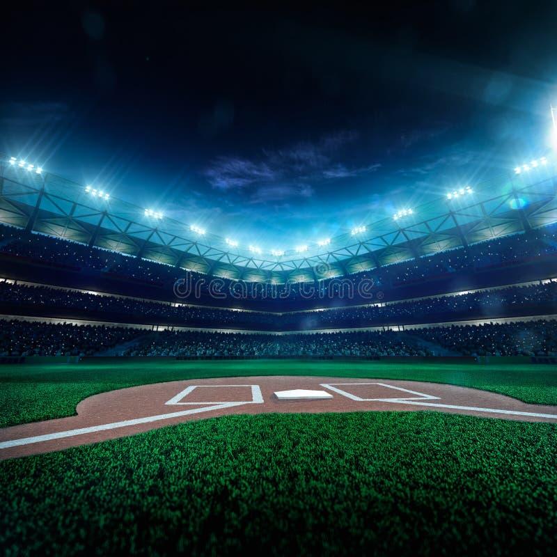 Arène grande de base-ball professionnel dans la nuit photo stock