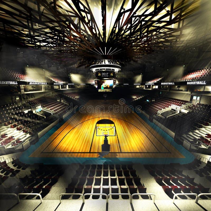 Arène professionnelle de terrain de basket dans l'illustration des lumières 3d illustration de vecteur