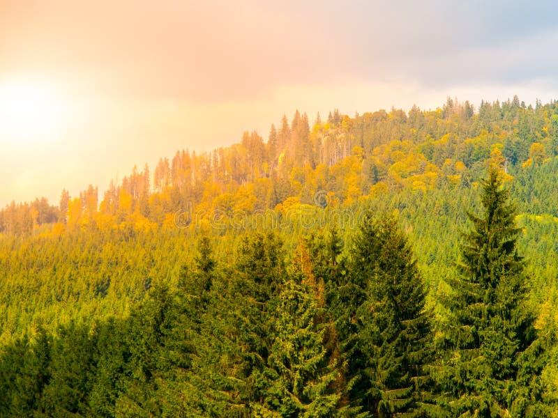 Arête de montagne de Stozec avec la roche de Stozec sur le dessus Paysage de forêt des montagnes de Sumava, République Tchèque photographie stock libre de droits
