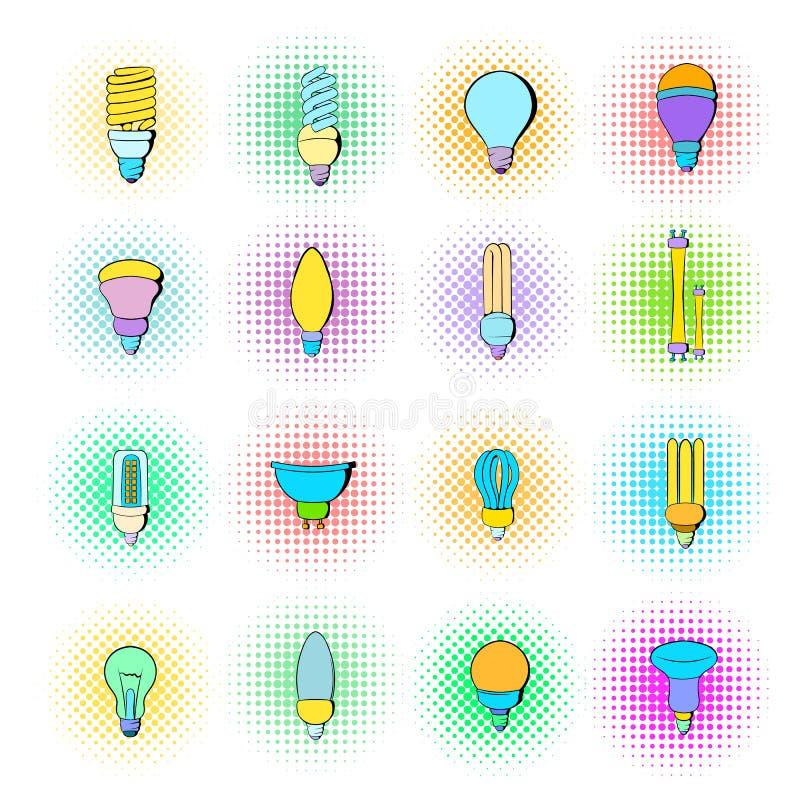 Żarówek ikony ustawiać, sztuka styl ilustracji