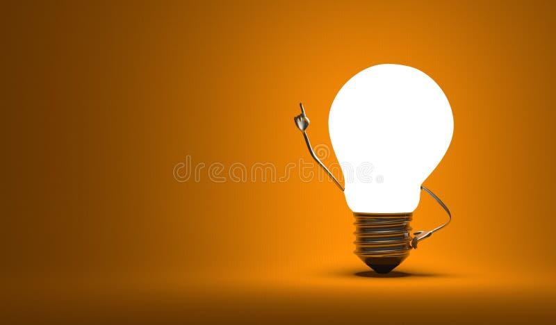 Żarówka charakter, aha moment, pomarańczowy tło ilustracji