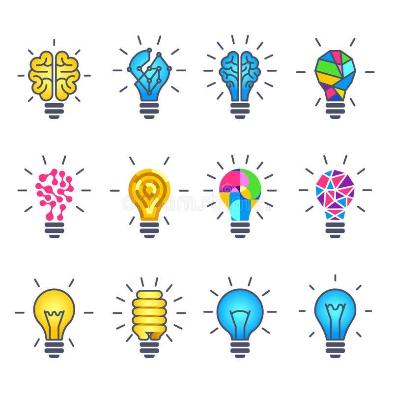 Żarówka pomysł, kreatywnie wektorowe ikony ilustracja wektor