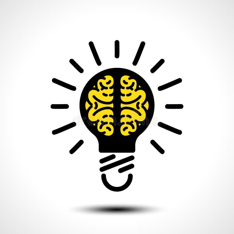 Żarówka pomysł z móżdżkowym wektorowym loga szablonem Korporacyjna ikona tak jak logotyp royalty ilustracja