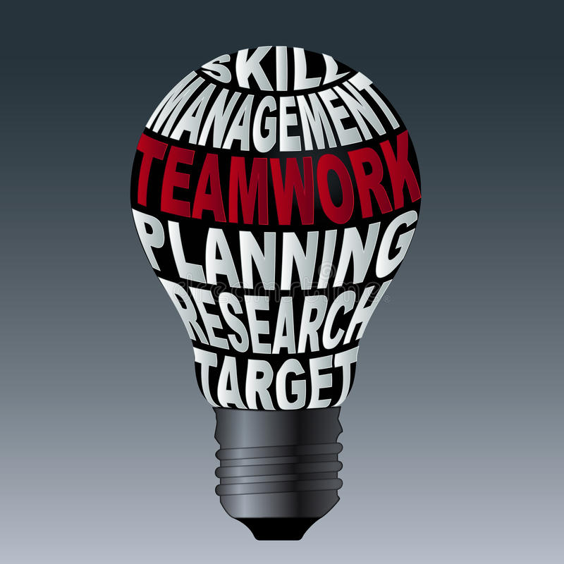 Żarówka umiejętności zarządzania pracy zespołowej planowania badania cel ilustracja wektor
