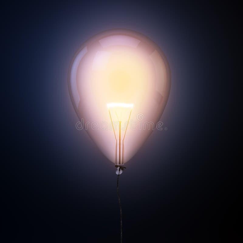 Żarówka wśrodku balonu ilustracji