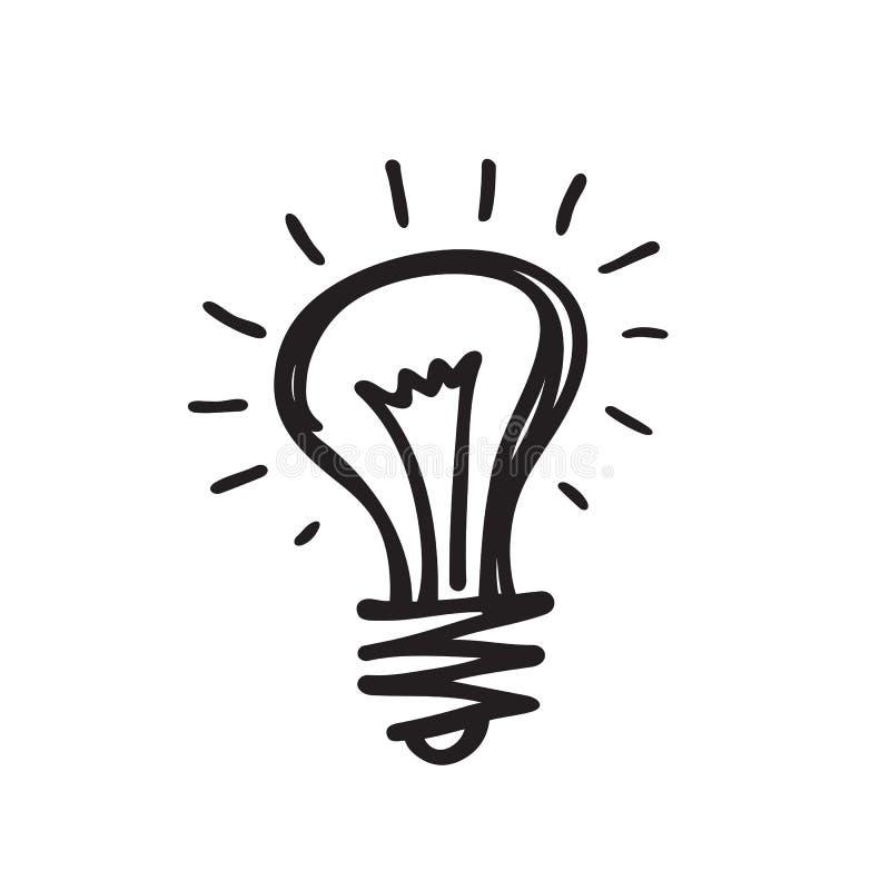Żarówka - wektorowa ikony ilustracja w nakreślenie remisu projekta stylu Lampowy minimalny symbol Kreatywnie pomysłu pojęcia grze royalty ilustracja