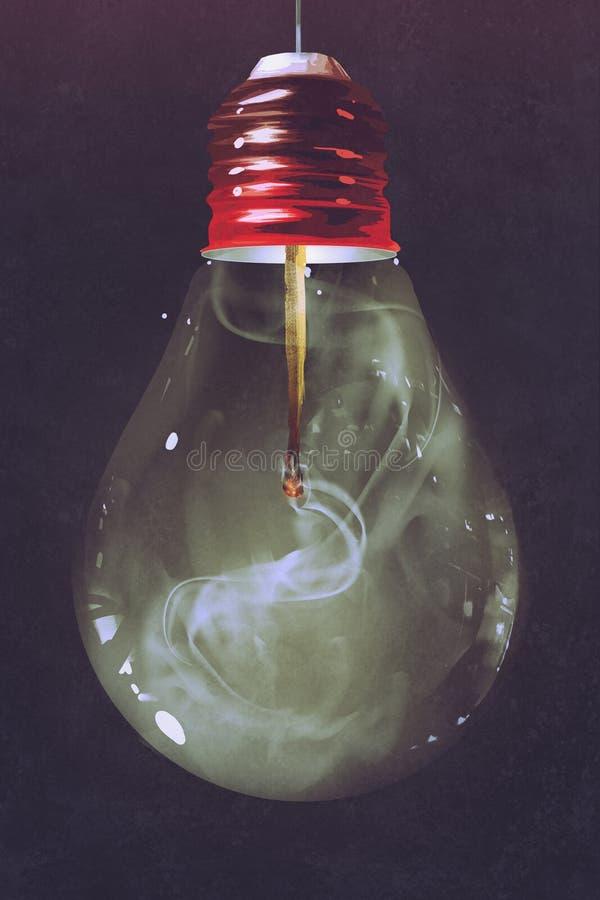 Żarówka z burnt matchstick inside ilustracja wektor