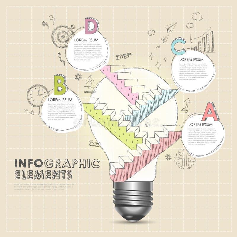 Żarówka z ręka remisu schodowymi abstrakcjonistycznymi infographic elementami royalty ilustracja