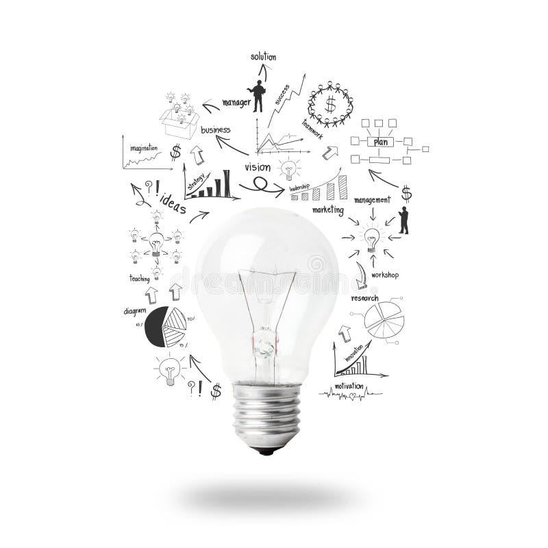 Żarówka z rysunkowym plan biznesowy strategii pojęcia pomysłem ilustracji