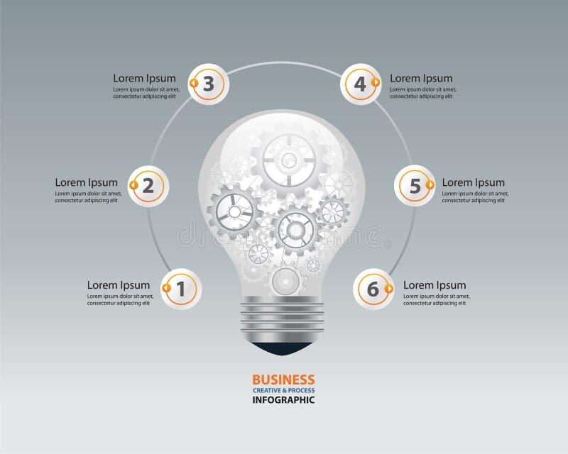 Żarówki infographic i biznesowy kreatywnie pojęcie przekładni brocess w żarówce wektor ilustracji