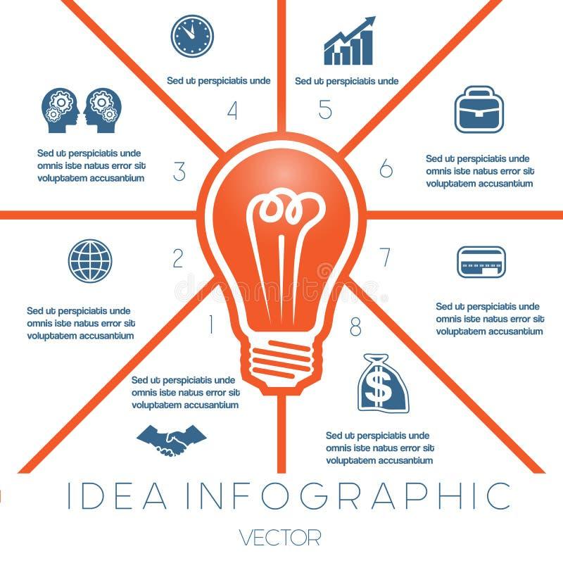 Żarówki infographics szablon na osiem pozycjach ilustracja wektor