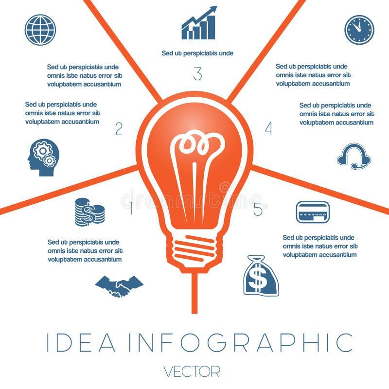 Żarówki infographics szablon na pięć pozycjach ilustracja wektor