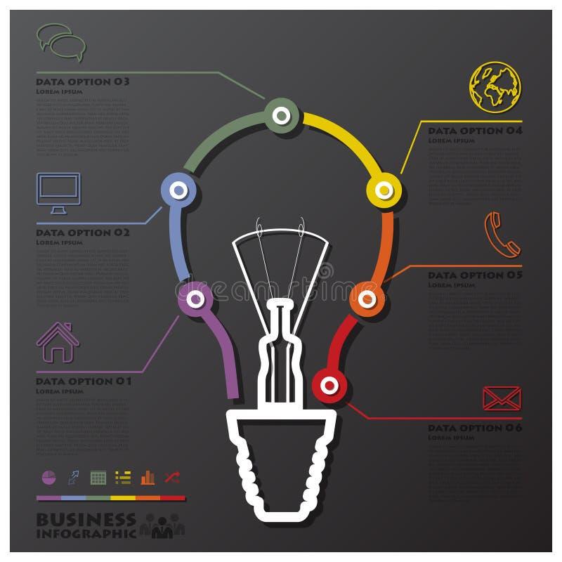 Żarówki linii czasu Podłączeniowy biznes Infographic ilustracja wektor