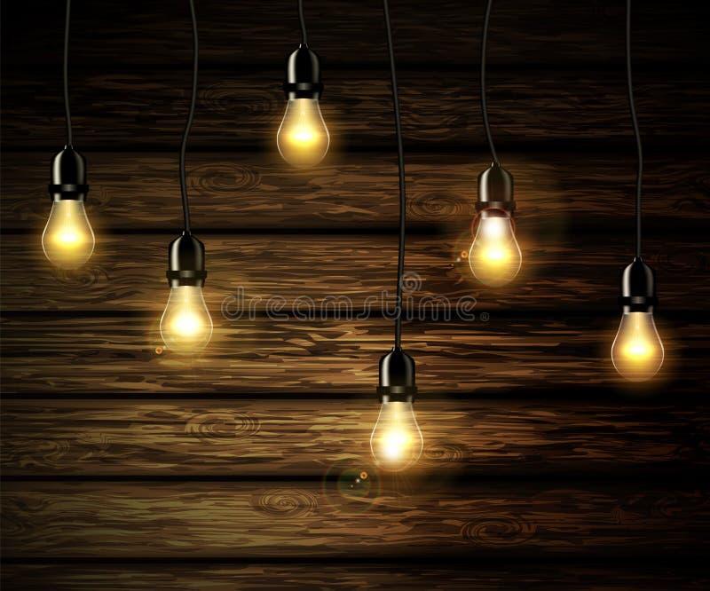 Żarówki z rozjarzonym światłem ilustracji