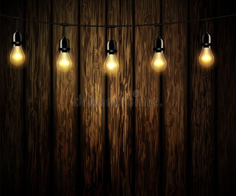 Żarówki z rozjarzonym światłem royalty ilustracja