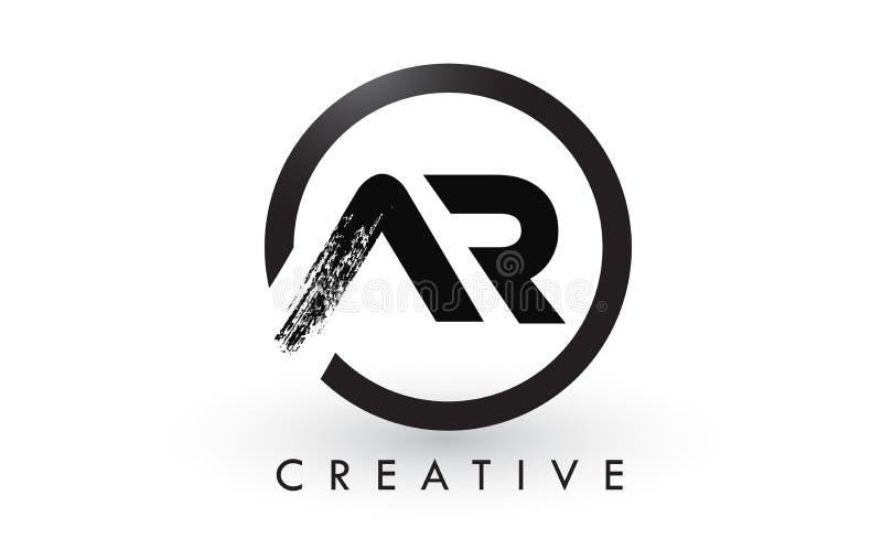 AR刷子信件商标设计 创造性的掠过的信件象商标 皇族释放例证