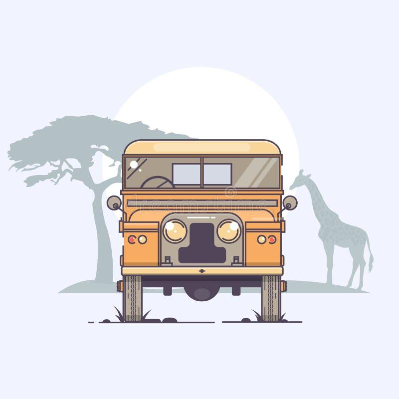 ¡ Ar Ð в движении на сафари задействует ландшафт Африки с иллюстрацией вектора живой природы и захода солнца бесплатная иллюстрация