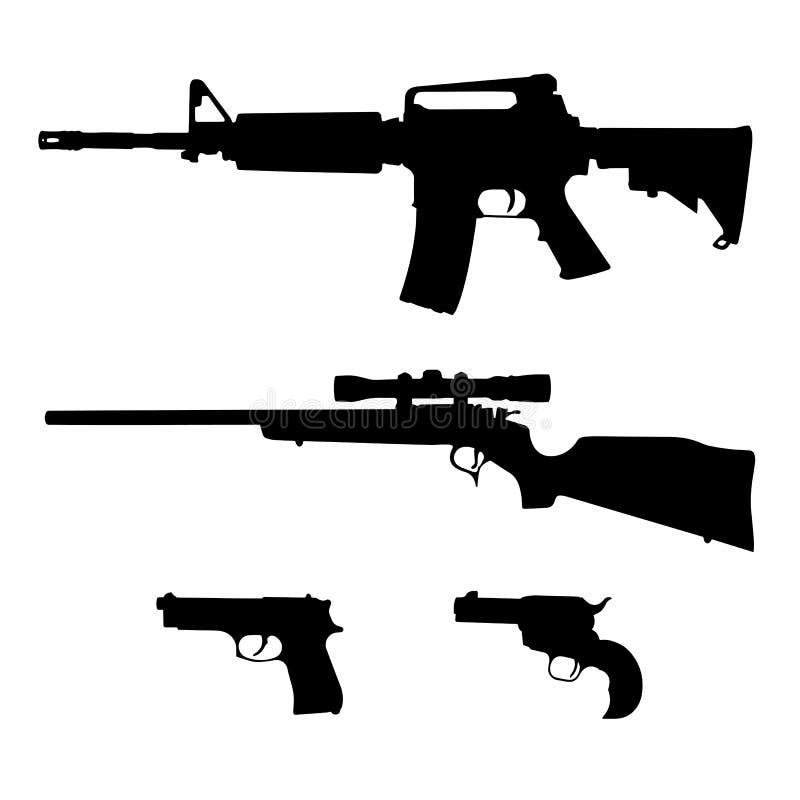 AR-15样式半自动步枪、螺栓行动步枪和手枪现出轮廓传染媒介 皇族释放例证