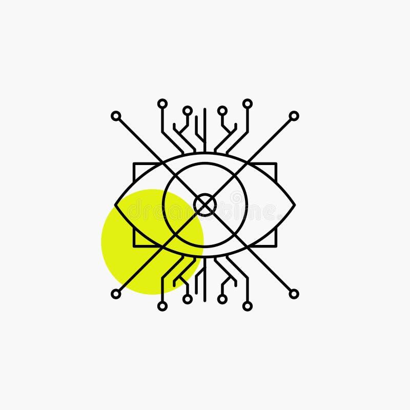 Ar, augmentacja, cyber, oko, obiektyw Kreskowa ikona ilustracja wektor