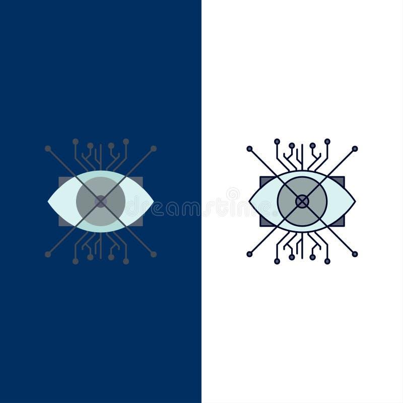 Ar, augmentacja, cyber, oko, obiektywu koloru ikony Płaski wektor ilustracja wektor