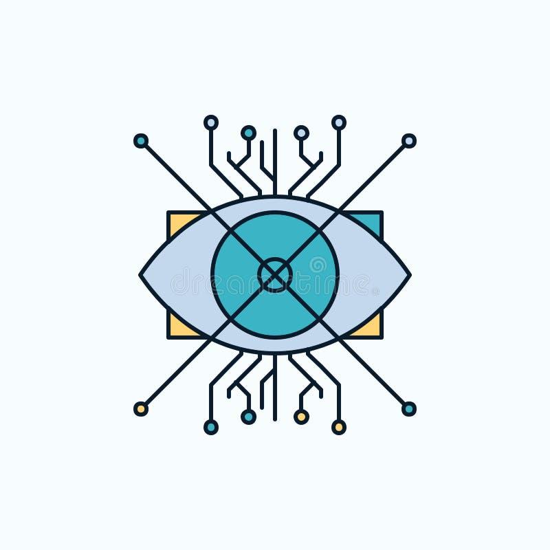 Ar, augmentacja, cyber, oko, obiektywu mieszkania ikona ziele?, kolor royalty ilustracja
