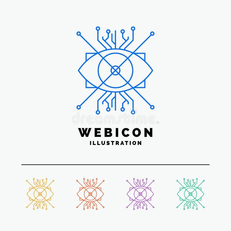 AR, aumento, cibernético, ojo, línea de color de la lente 5 plantilla del icono de la web aislada en blanco Ilustraci?n del vecto ilustración del vector