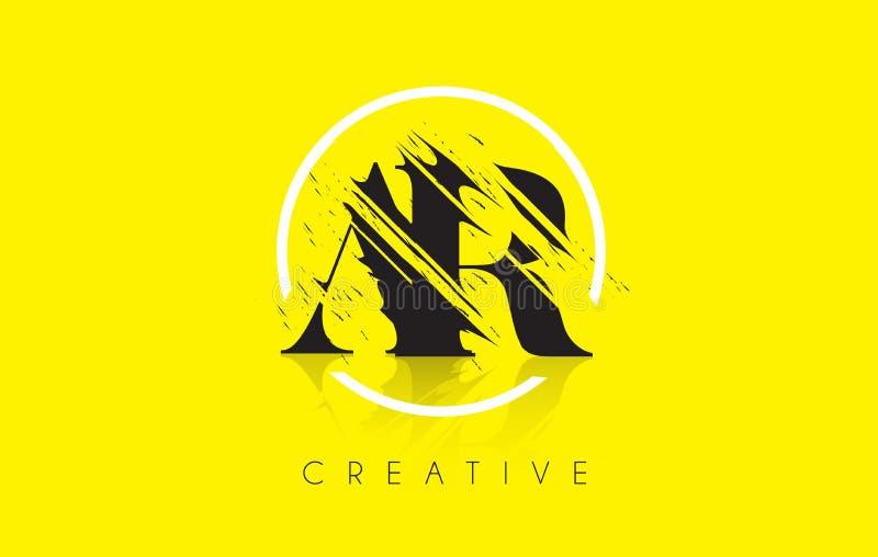 AR-Buchstabe-Logo mit Weinlese Grundge-Zeichnungs-Design Zerstörtes Cu lizenzfreie abbildung