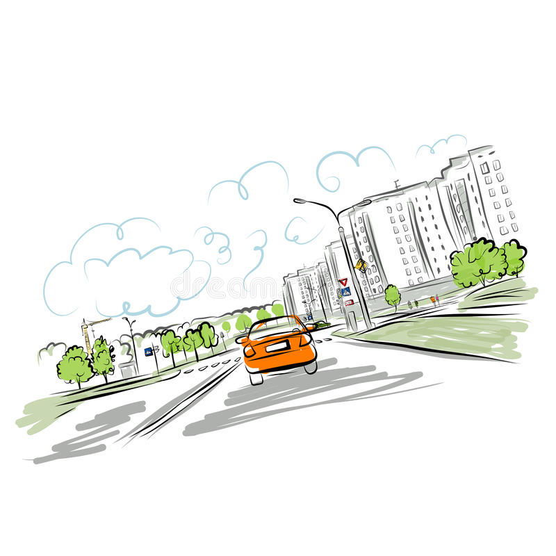 Download Car On The City Road For Your Design Stock Vector - Illustration of houses, illustration: 32000739