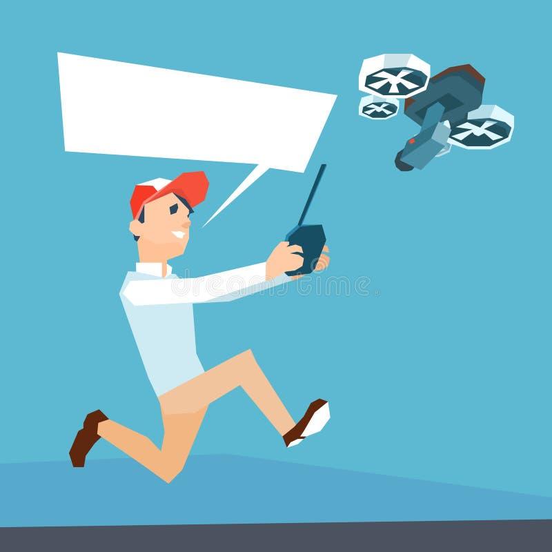 Ar de controle remoto Quadrocopter do voo do zangão da posse do homem ilustração stock