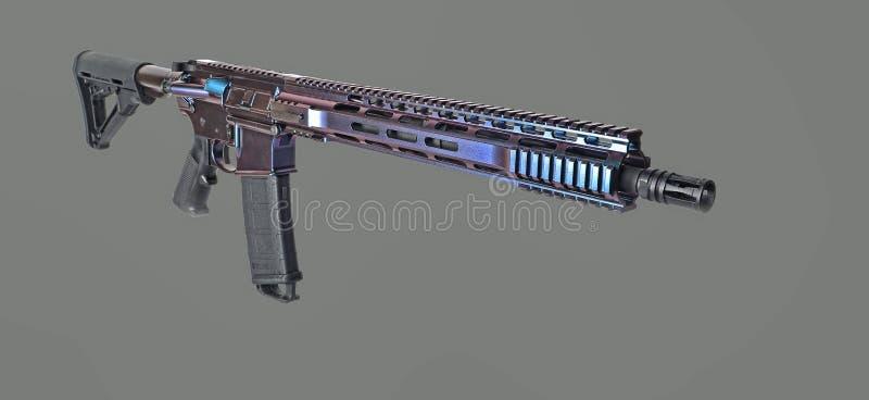 AR15 geweer dat met kleuren veranderende deklaag wordt geschilderd met 3 zichtbare kleuren stock foto