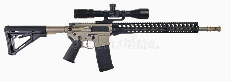 AR15 geweer met werkingsgebied en Ni-Borium stock afbeelding