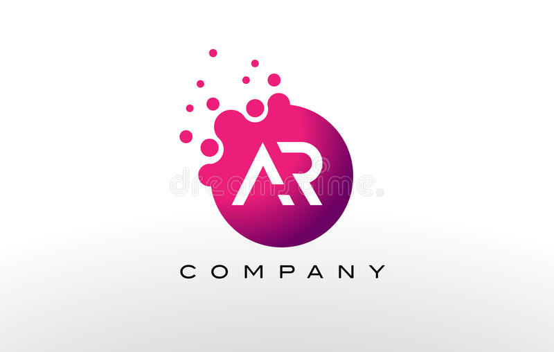AR Letter Dots Logo Design with Creative Trendy Bubbles. royalty free illustration