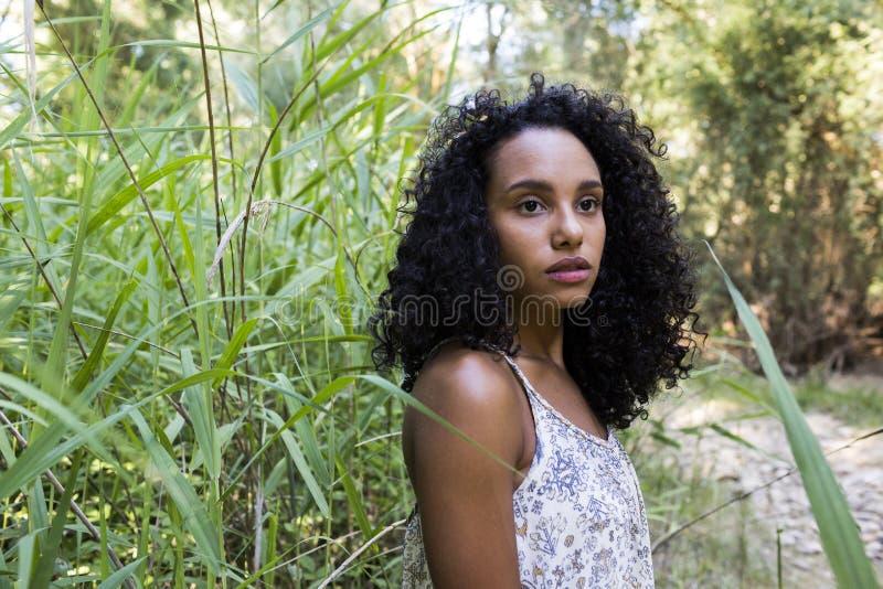Ar livre do retrato de uma mulher afro-americana nova Backgrou verde fotografia de stock royalty free