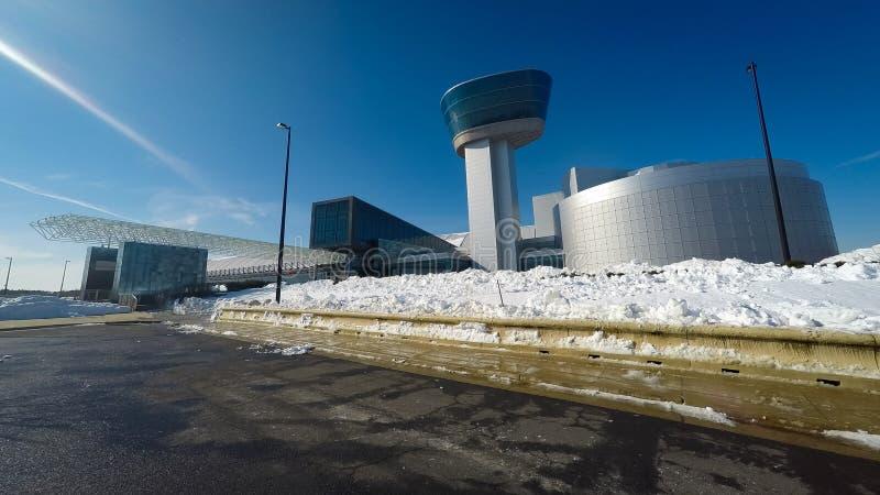 Ar nacional e museu de espaço no inverno imagens de stock