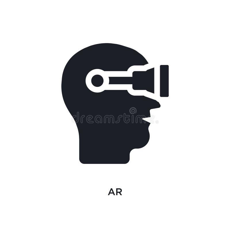 AR negra aisló el icono del vector ejemplo simple del elemento de iconos aumentados del vector del concepto de la realidad logoti ilustración del vector