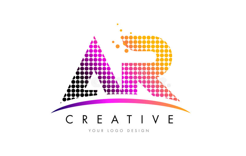 AR A R Letter Logo Design with Magenta Dots and Swoosh. AR A R Dots Letter Logo Design with Magenta Bubble Circles and Swoosh vector illustration