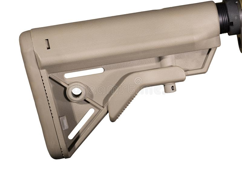 AR-15 regelbare die voorraad op wit wordt geïsoleerd royalty-vrije stock foto's