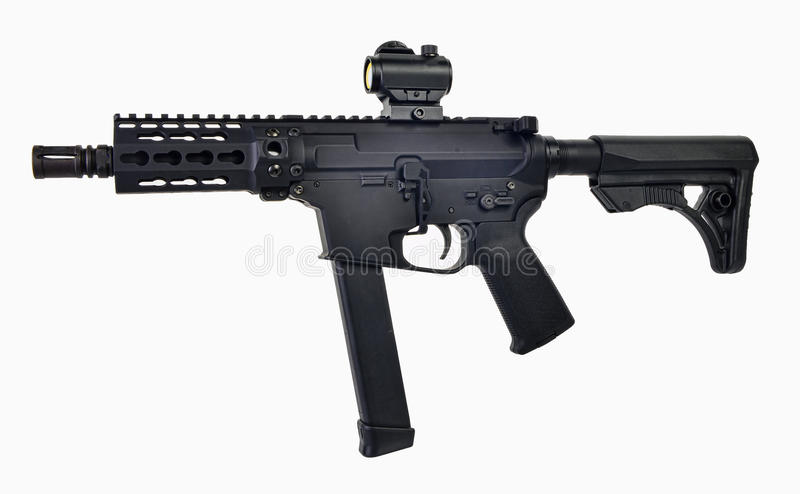 AR9 SBR with 33rd mag and colapsed stock, 5.5` barrel and optics stock images